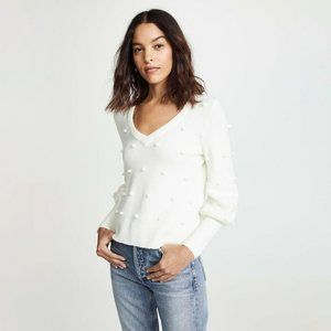 Madewell Balloon Sleeve Sweater Ivory Pom Pom